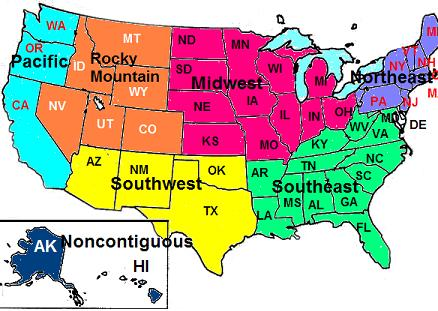 STUDY GUIDE USIIc - South us region map